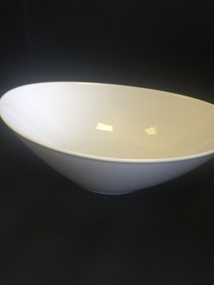 WHITE CHINA SALAD BOWL OVAL 10""