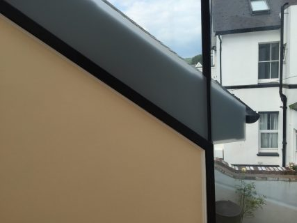 Matte Frost Obscuration Film to obscure building alterations.