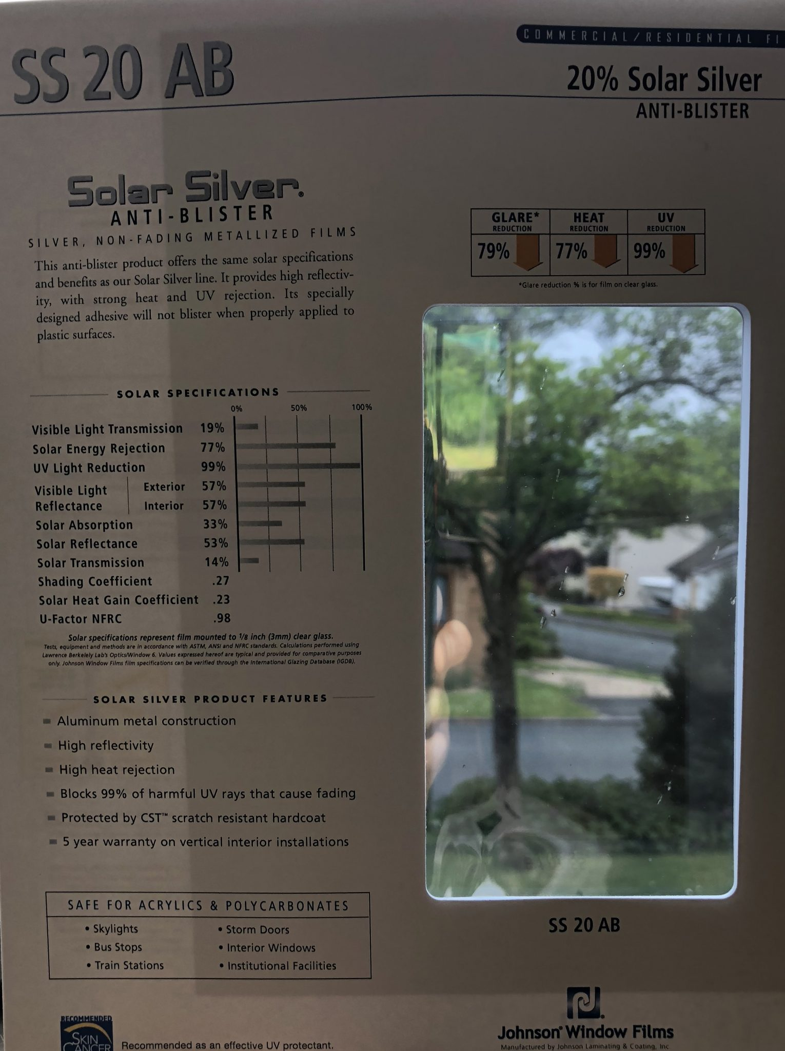Solar Silver 20 Anti Blister for Plastic Window Film