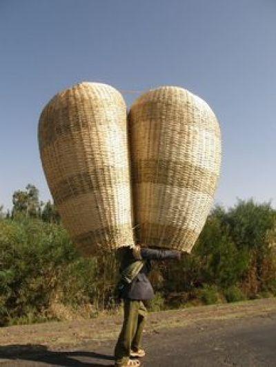 man with huge basket