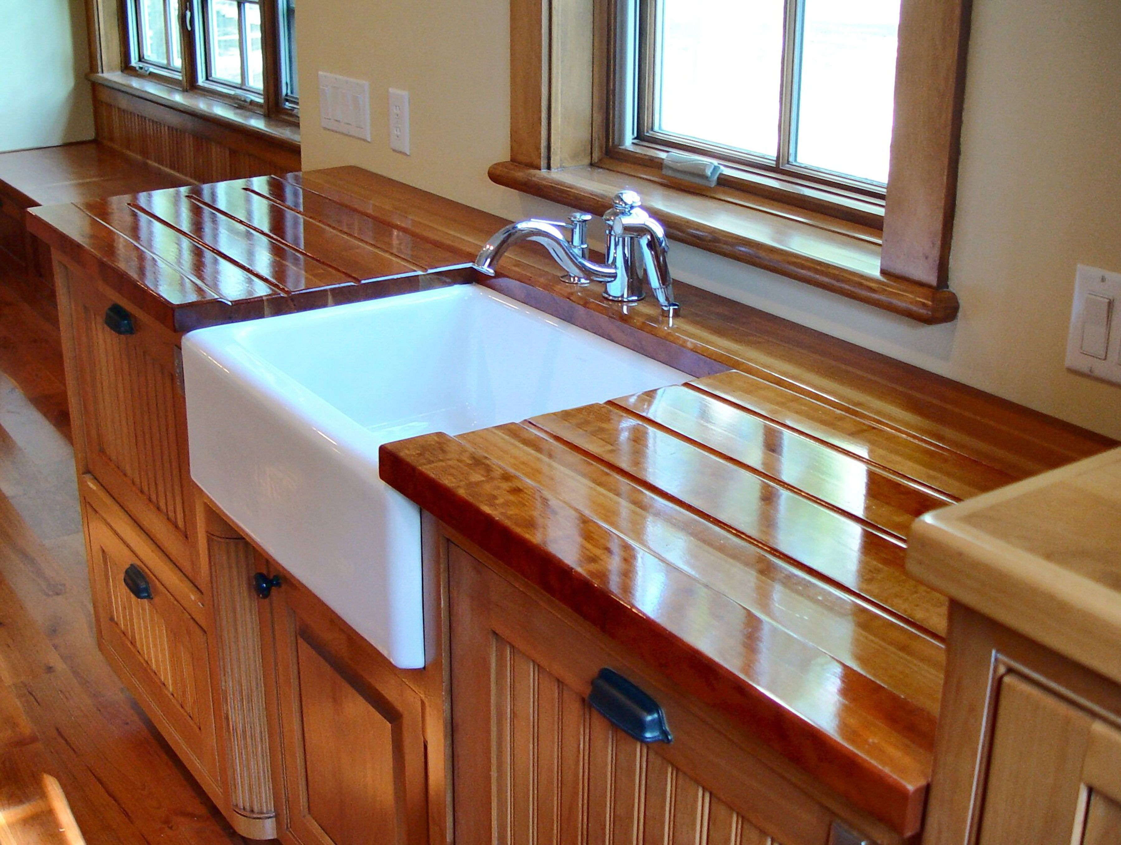 Sink Cutouts in Custom Wood Countertops on Farmhouse Countertops  id=50875