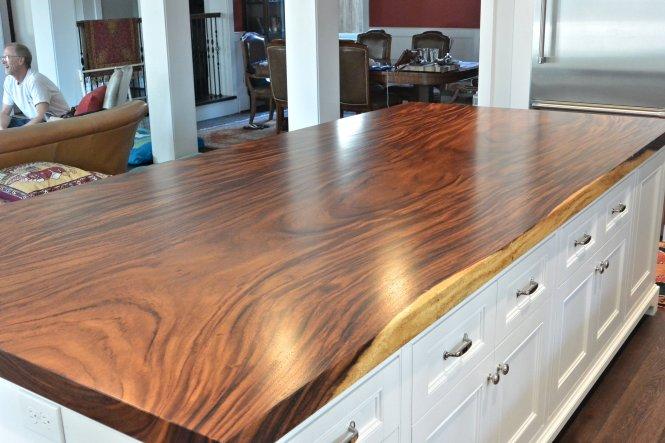 Natural Walnut Kitchen Island In Summit New Jersey: Slab Countertop