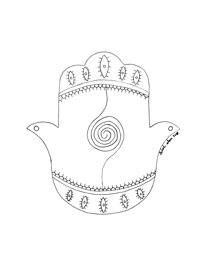 Hamsa with crown at top and crown at bottom and spiral line connecting the two.