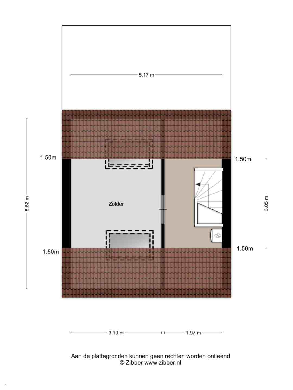 Plattegrond Ouverturelaan 59 - Tweede verdieping