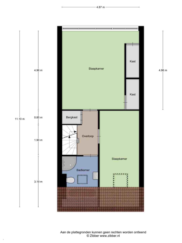 Plattegrond eerste verdieping Fien de la Marstraat 10 Spijkenisse