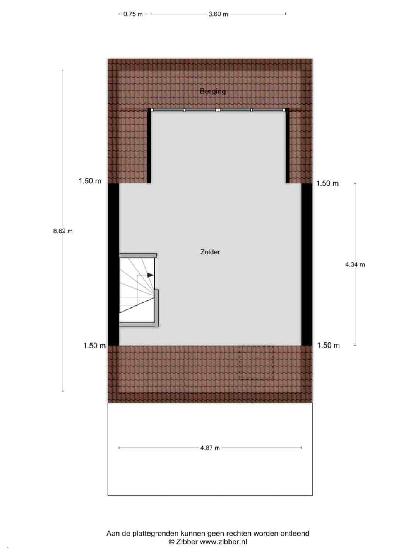 Plattegrond tweede verdieping Fien de la Marstraat 10 Spijkenisse