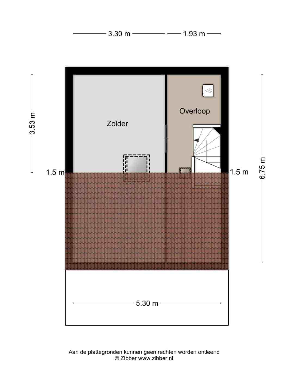 Plattegrond Tweede verdieping Mekongstraat 21