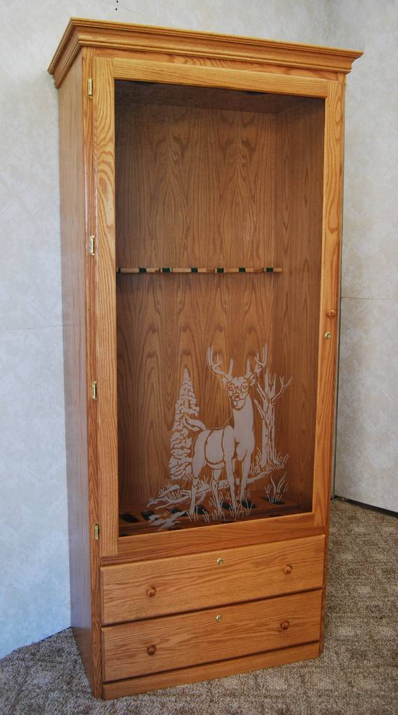 Gun Cabinet With Decorative Glass De Vries Woodcrafters