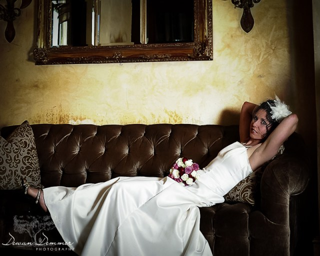 Photo of a London Bride on a Couch