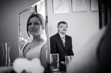 Black and White Wedding Photo of father and daughter