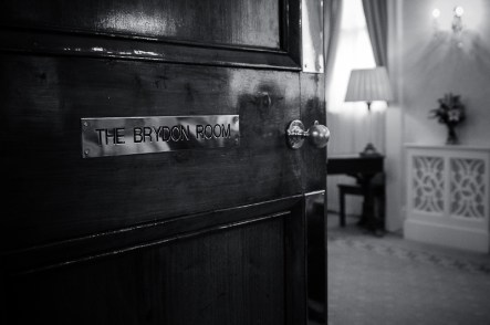 Black and White photo of a door at registry office