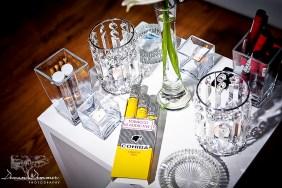 Cigars and crystal at wedding