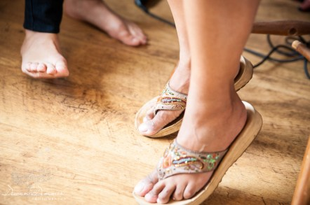 Bridesmaids sandals during preparation