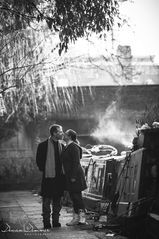Engagement Photography of a Kiss on Regents Canal