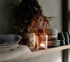 Keukenplank sobere kerstdecoratie