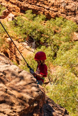 Matthew going over the 25m cliff the first time