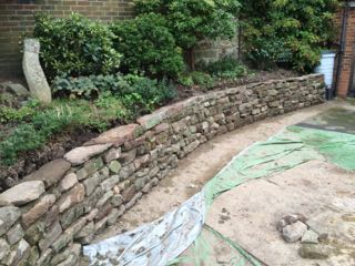 Curved sandstone wall, Kent