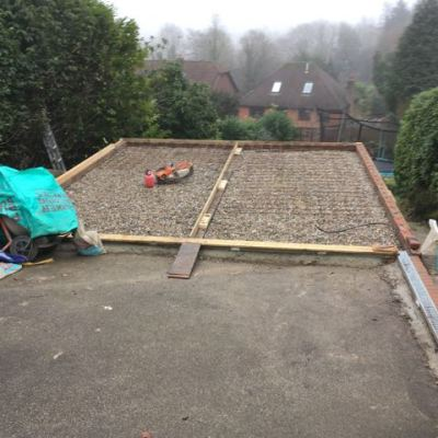 Preparation of garage base, Deneside, East Grinstead