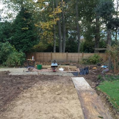 Clearing of site for new garden room, Littlewood, Sussex