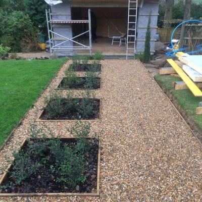Garden building under construction, Littlewood, Sussex