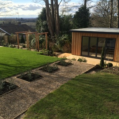 View across top of garden, Littlewood, Sussex