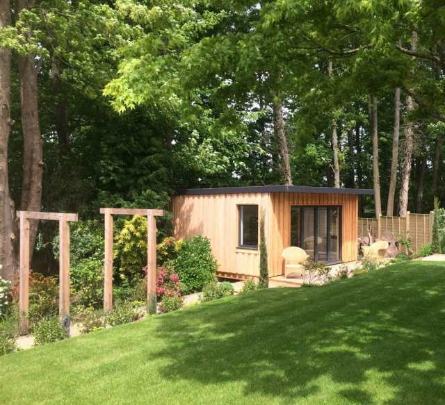 Garden room and completed garden for two homes, Littlewood, Sussex