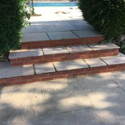 New sandstone and brick steps, Brownheath, Buxted