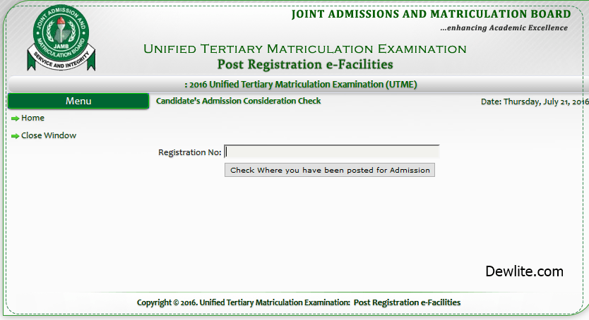 JAMB Admission Consideration Status 2016