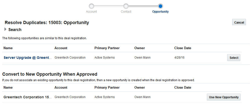 deal duplicate dpportunity check