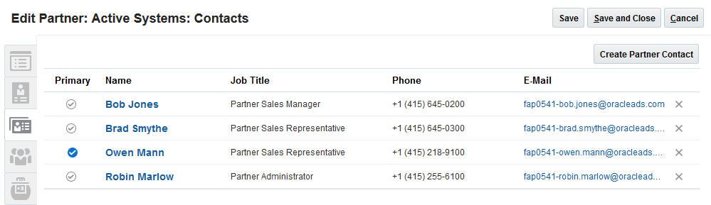 partner contact list