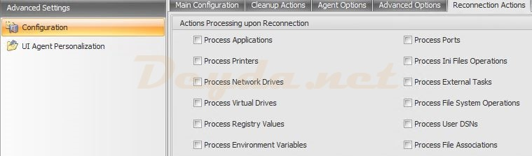 Advanced Settings Configuration Reconnection Actions