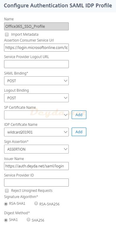 Create Authentification SAML IDP Profile