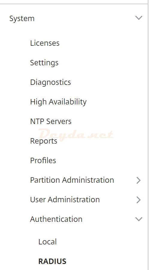 System Authentication RADIUS