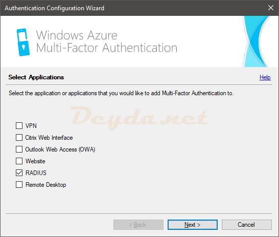 Authentication Configuration Wizard RADIUS