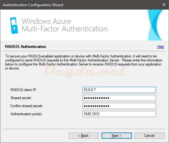 Authentication Configuration Wizard RADIUS Authentication