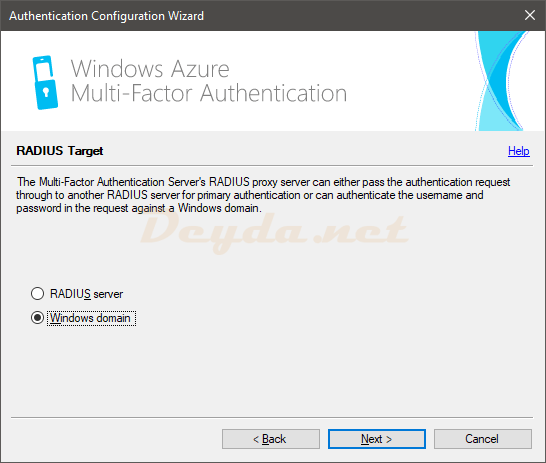 Authentication Configuration Wizard RADIUS Target