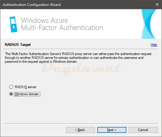 Authentication Configuration Wizard RADIUS Target