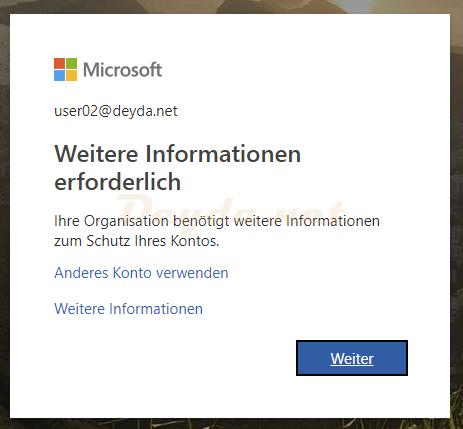Office365 Anmeldung Weitere Informationen