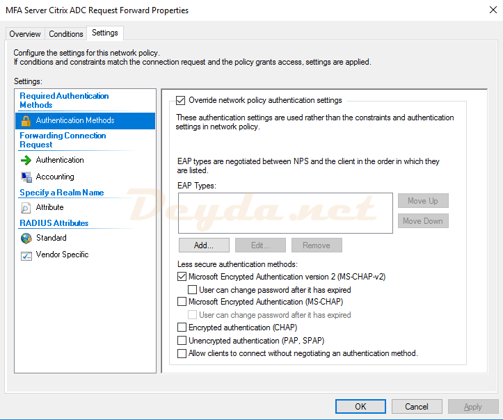 Connection Request Policies Settings