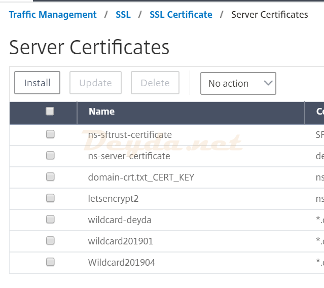 Citrix ADC Traffic Management SSl SSl Certificate Server Certificate