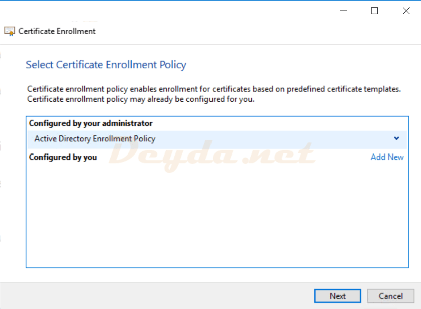 Certificate Enrollment Active Directory Enrollment Policy