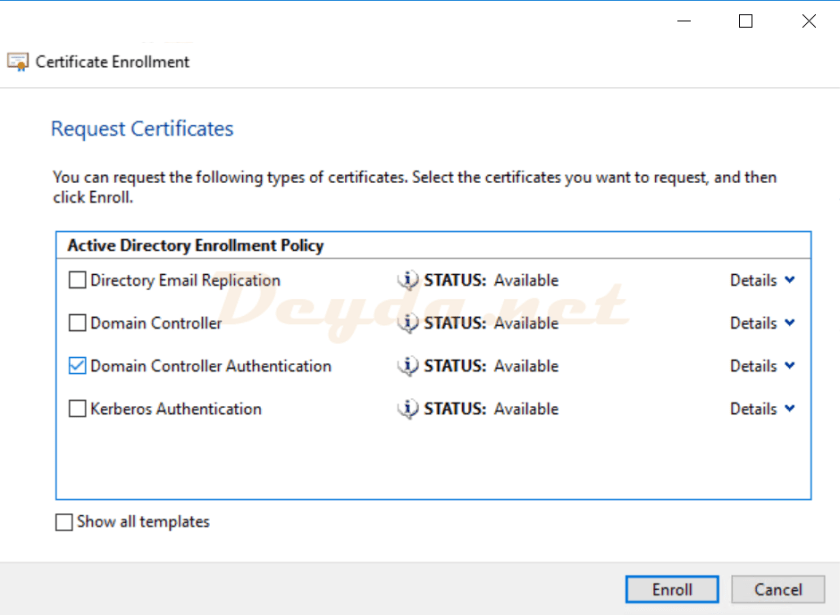 Domain Controller Authentication Enroll