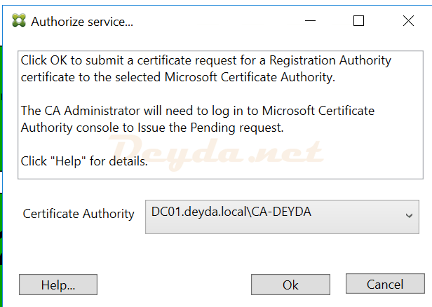 FAS Server Authorize service Certificate Authority