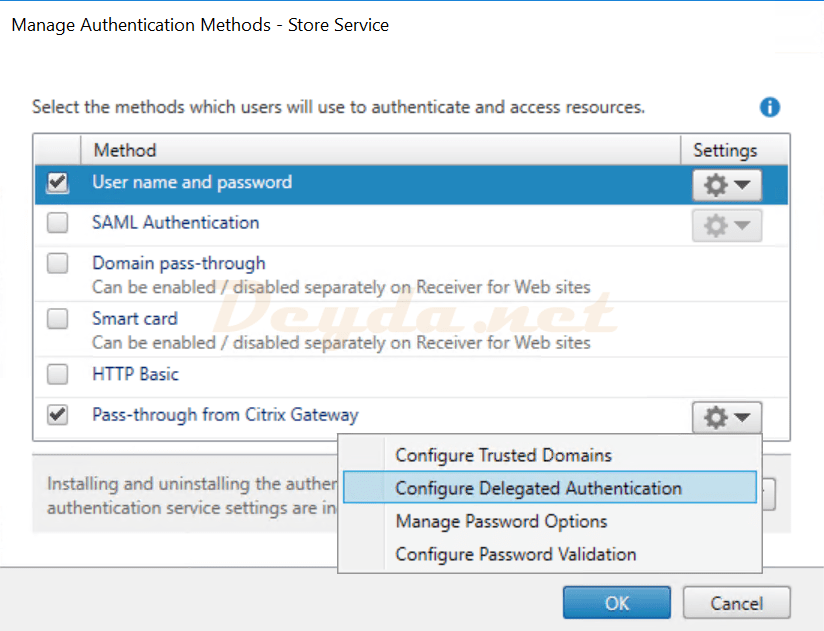 Citrix StoreFront Manage Authentication Methods Pass-through from Citrix Gateway Configure Delegated Authentication