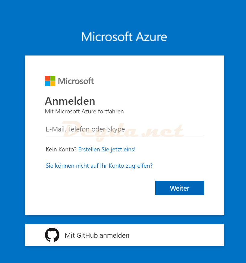 portal.azure.com logon Microsoft Azure