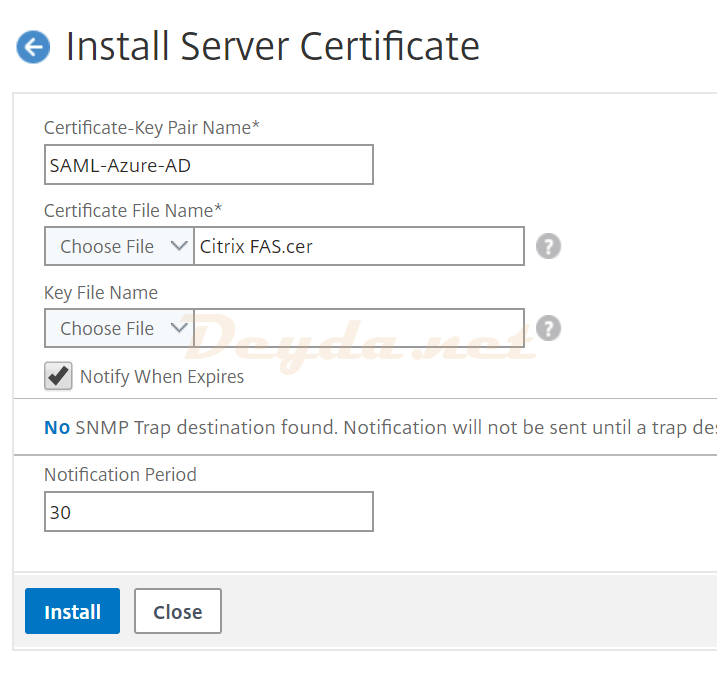 Install Server Certificate NetScaler ADC