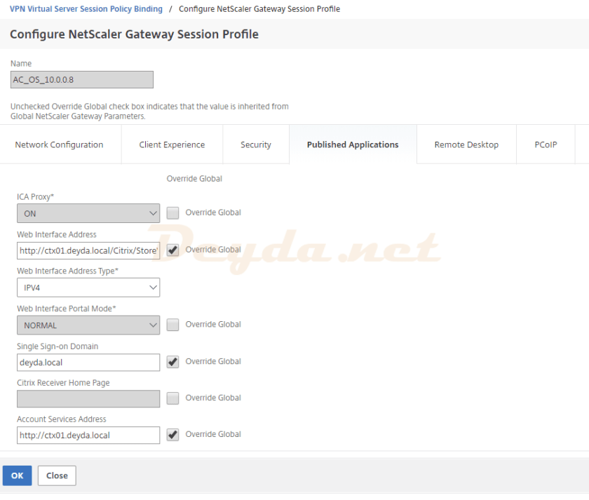 NetScaler Gateway Polices Session Cache