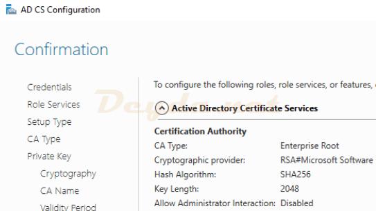 Configuration AD CS Confirmation