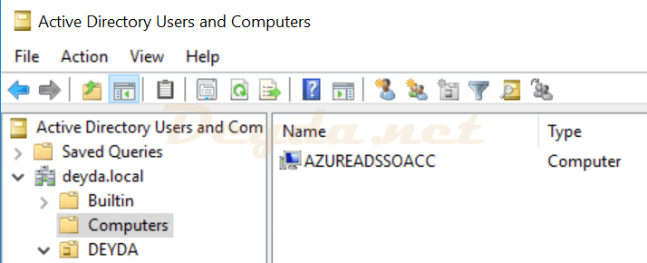 Active Directory Users and COmputers AZUREADSSOACC