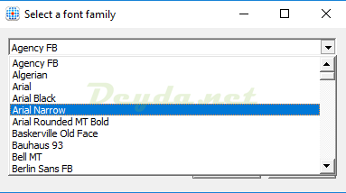Hiding Rule Select a Font family